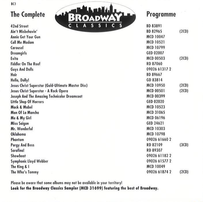 US Broadway CD - BD89667 inlay back